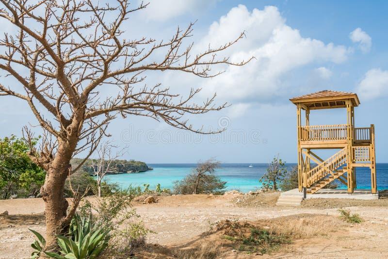 PortoMari海滩库拉索岛景色 免版税库存照片