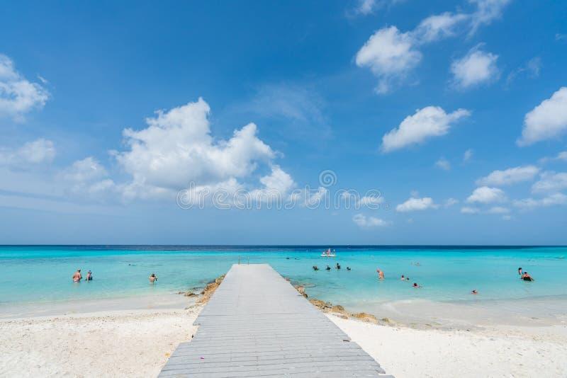 PortoMari strand Curacao royaltyfri bild