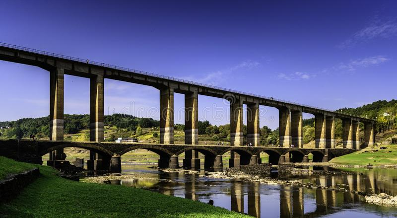 Portomarin Bridge reservoir royalty free stock photo