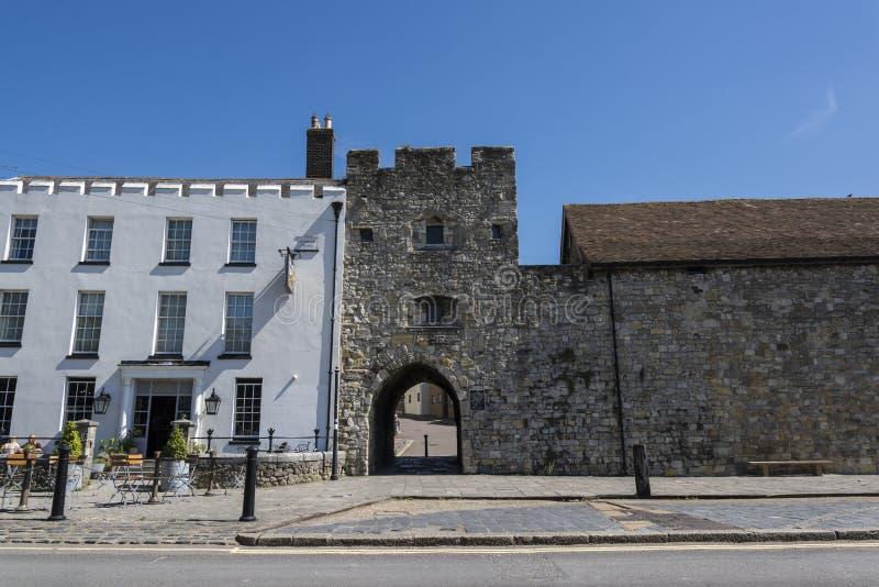 Portone ad ovest, mura di cinta medievali, Southampton, Hampshire, Inghilterra, Regno Unito immagini stock