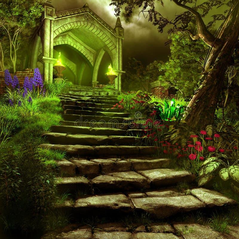Portone al giardino di mistero royalty illustrazione gratis