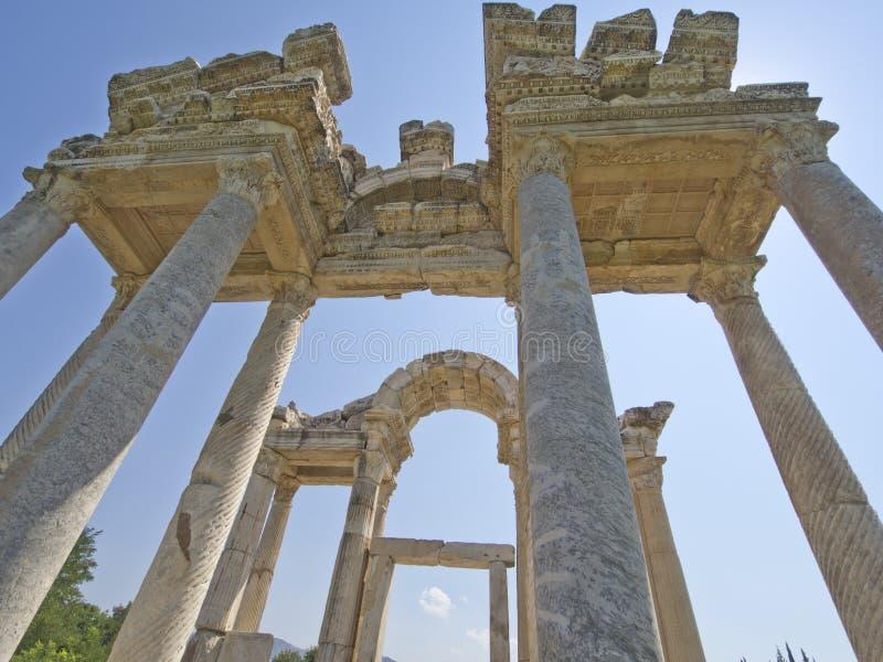 Portone antico del tetrapylon in Afrodisia immagine stock libera da diritti