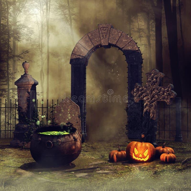 Portone del cimitero con le zucche illustrazione vettoriale