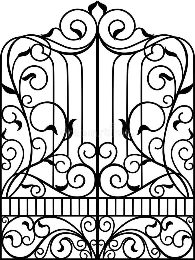 Portone del ferro battuto, porta, royalty illustrazione gratis