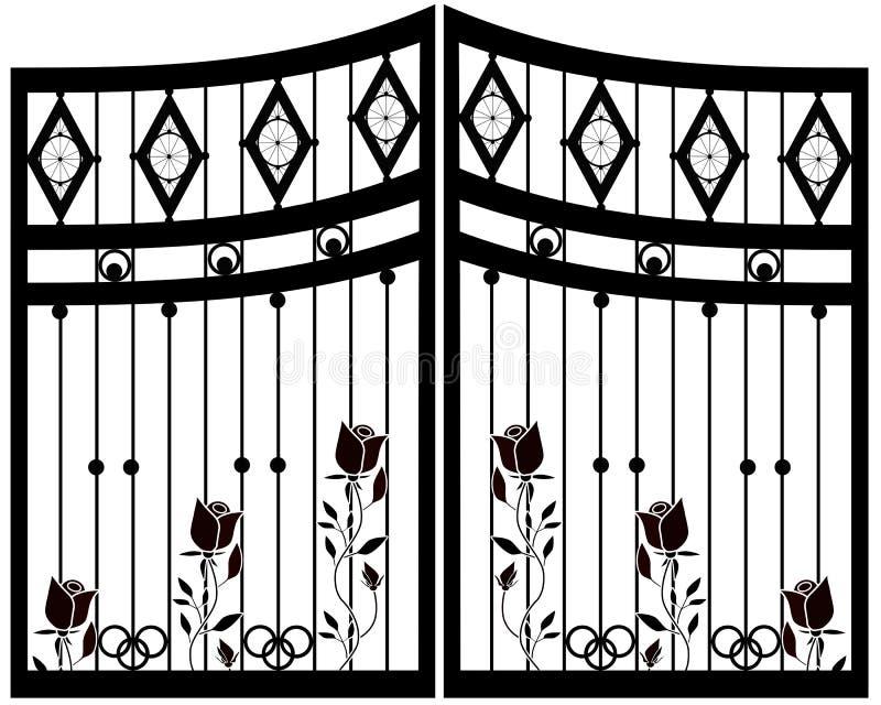 Portone del ferro battuto, porta, recinto illustrazione vettoriale
