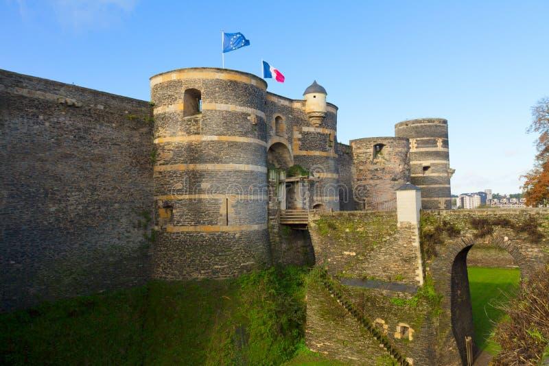 Portone dell'entrata del castello Angers, Francia fotografia stock libera da diritti