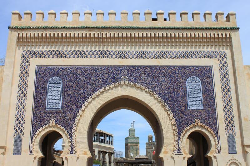 Portone di Bab Bou Jeloud a Fes fotografie stock