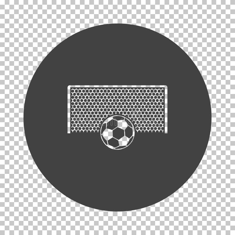 Portone di calcio con la palla sull'icona del punto di pena illustrazione vettoriale