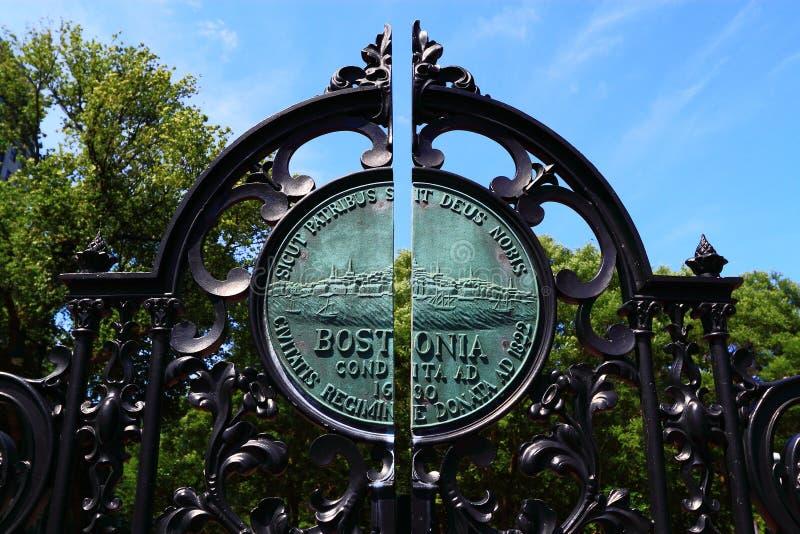 Portone di giardino pubblico comune di Boston fotografia stock libera da diritti