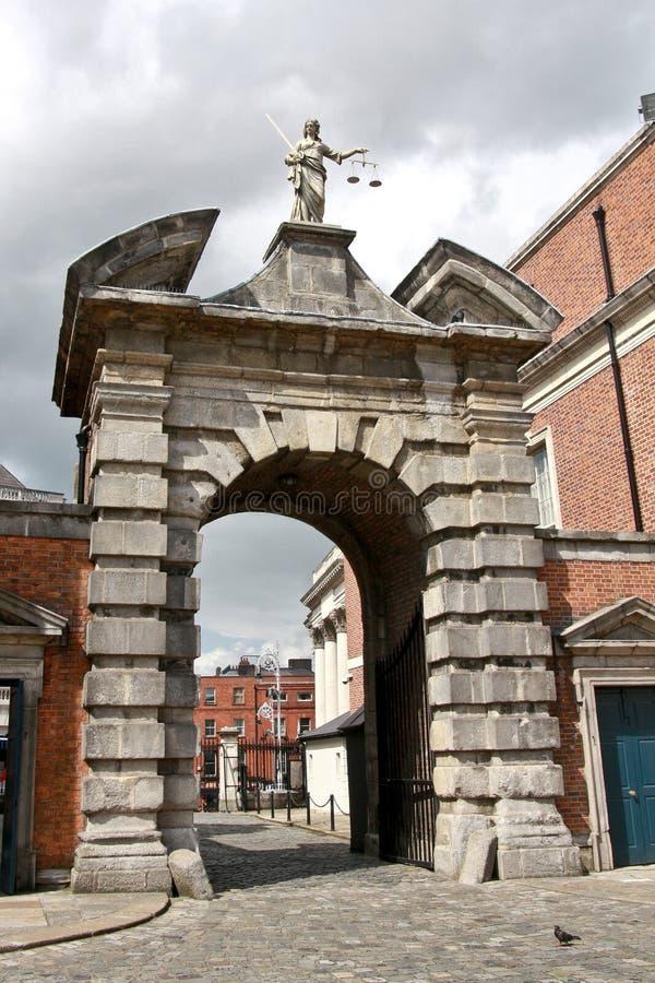 Portone di giustizia, Dublin Castle, Irlanda fotografie stock libere da diritti