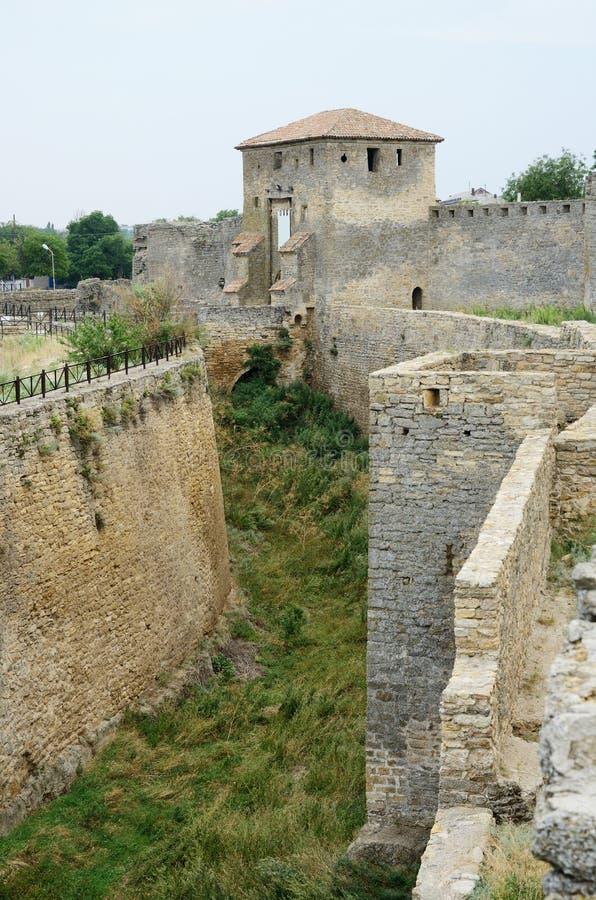 Portone di Kiliya e del fossato della fortezza turca medievale, Ucraina fotografia stock