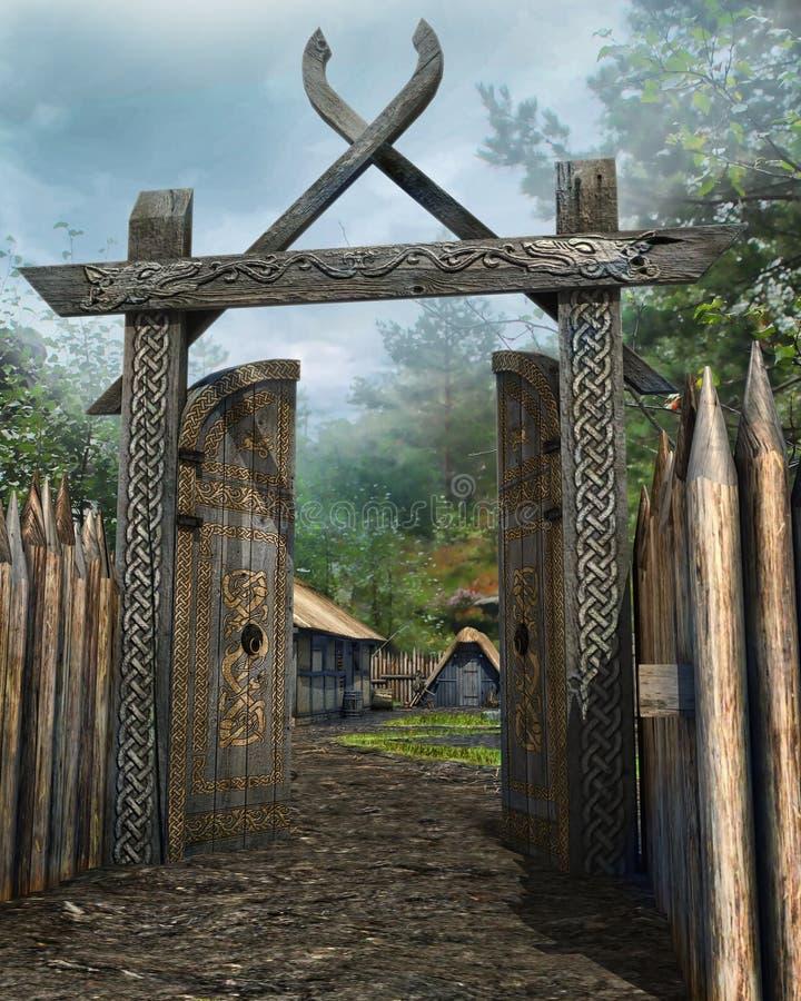 Portone di legno ad un villaggio medievale illustrazione di stock