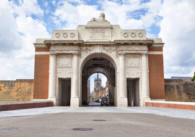 Portone di Menin - memoriale della prima guerra mondiale in Ypres immagini stock libere da diritti