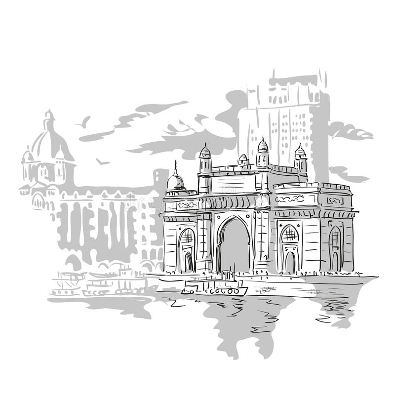 Portone di Mumbai, India illustrazione di stock