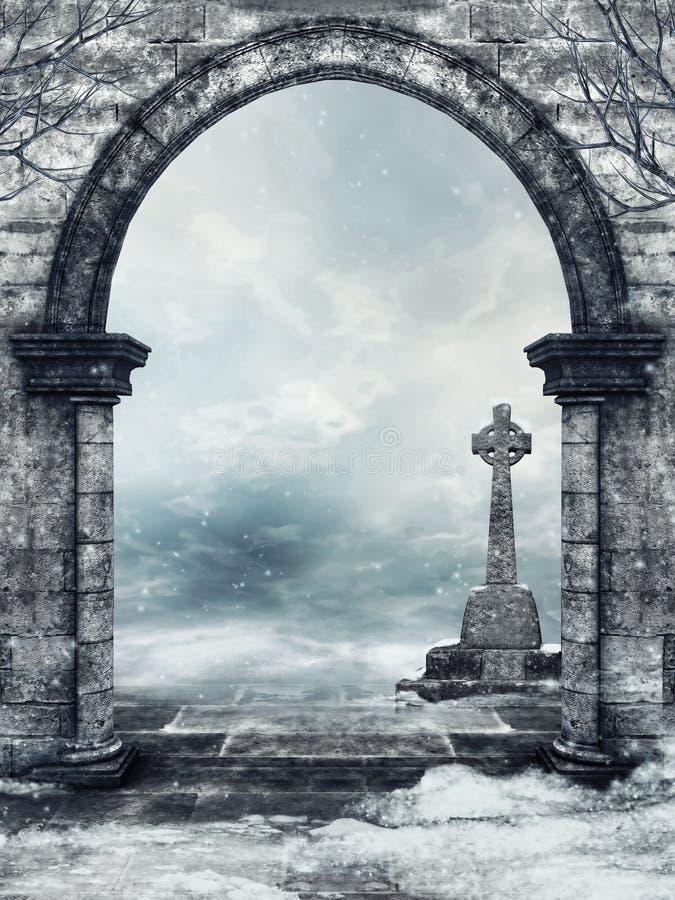 Portone di pietra e una pietra tombale royalty illustrazione gratis