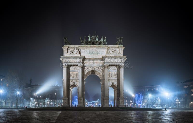 """Portone di Sempione, Porta Sempione Portone della città di Milano, Italia Il nome """"Porta Sempione """" fotografia stock"""
