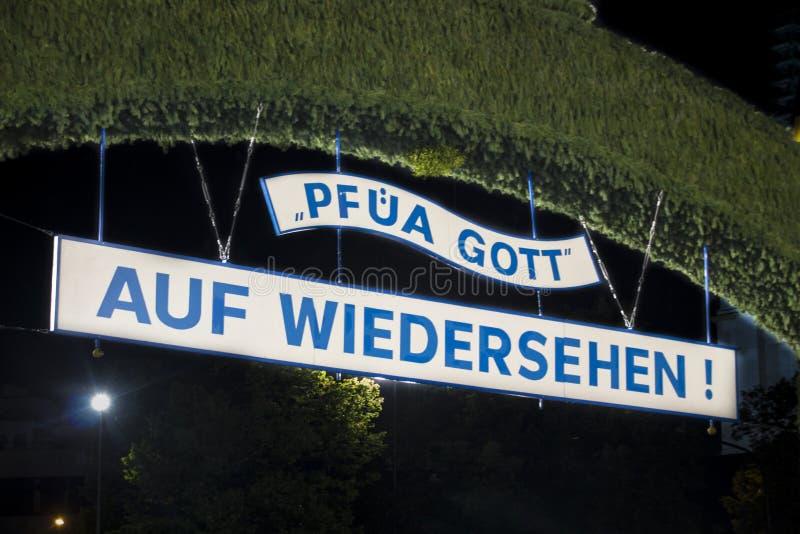 Portone di uscita dal Oktoberfest a Monaco di Baviera, Germania, 2015 fotografia stock