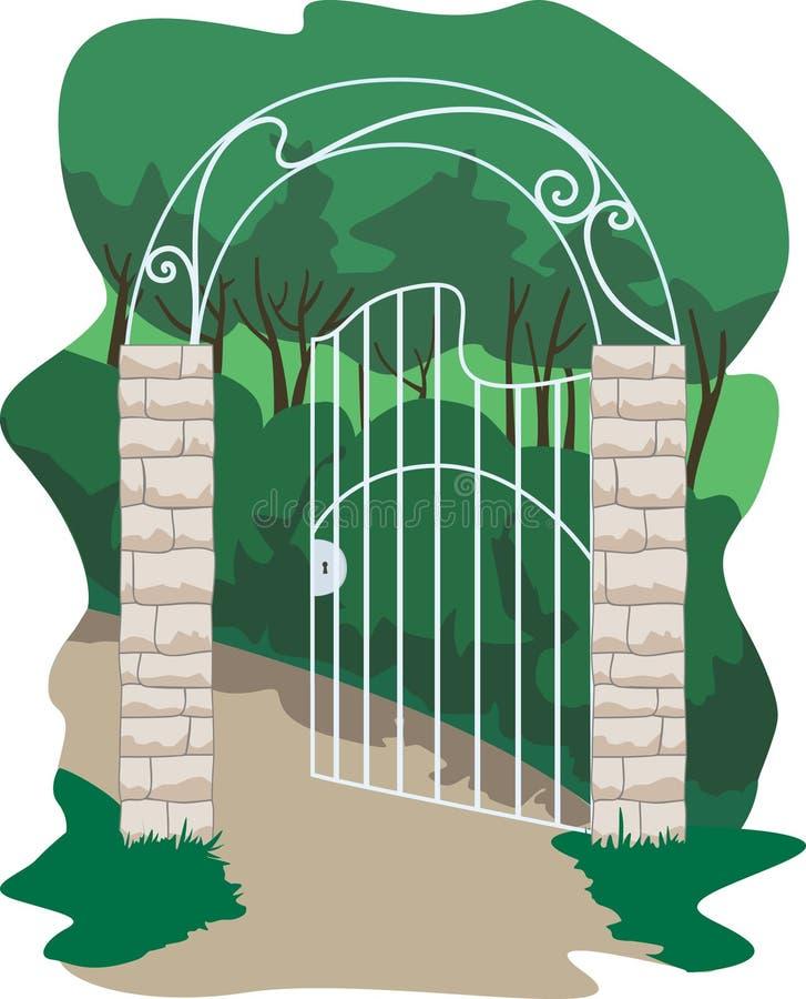 portone forgiato nel giardino illustrazione vettoriale