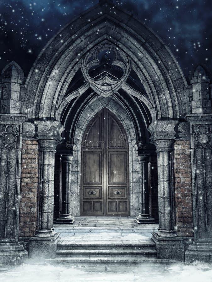 Portone gotico alla notte nell'inverno illustrazione vettoriale
