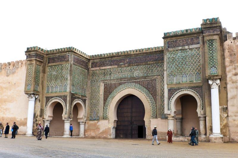 Portone Meknes, Marocco di Bab EL-Mansour fotografie stock libere da diritti