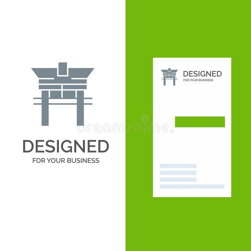 Portone, ponte, la Cina, cinese Grey Logo Design e modello del biglietto da visita illustrazione di stock
