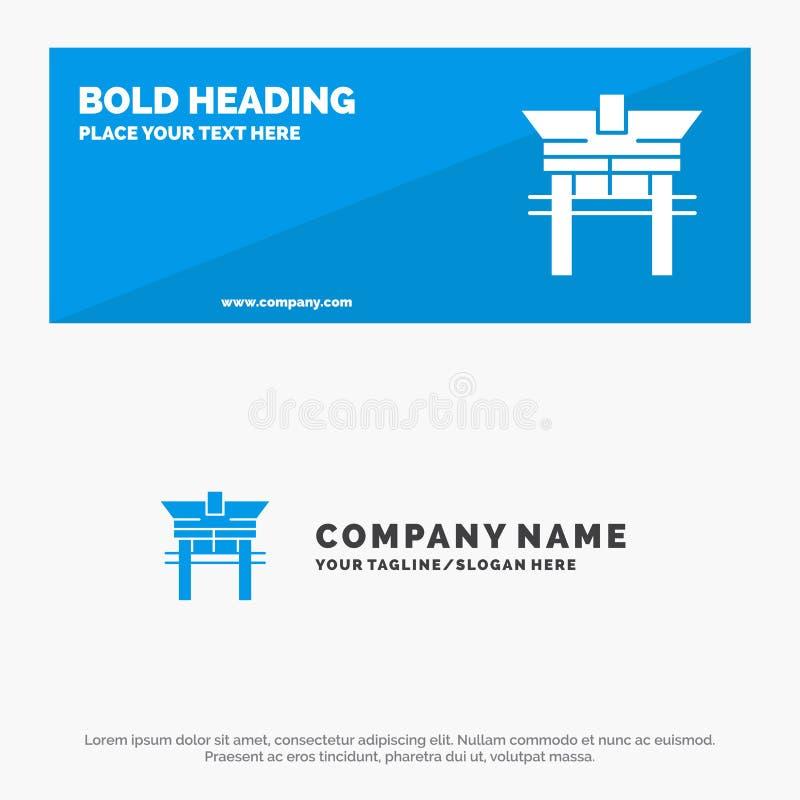 Portone, ponte, la Cina, insegna solida cinese del sito Web dell'icona ed affare Logo Template illustrazione di stock