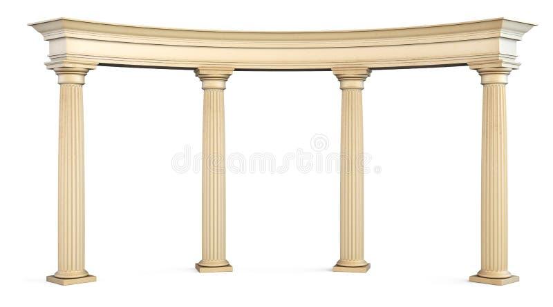 Portone romano delle colonne su bianco con il percorso di ritaglio 3d fotografia stock