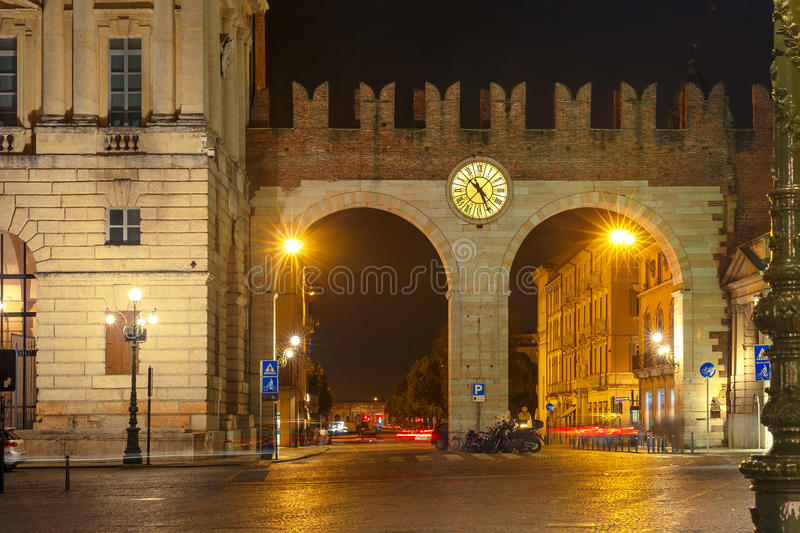 Portoni della Bra at night in Verona, Italy. royalty free stock image