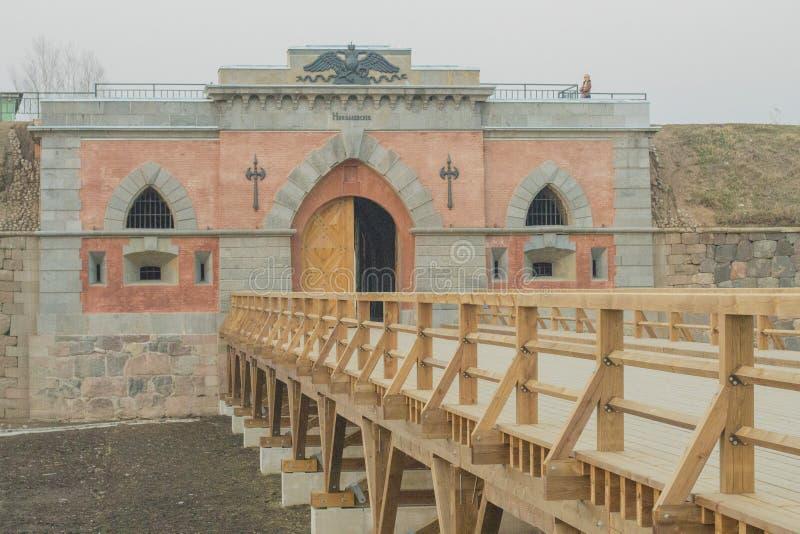 Portoni della fortezza di Dinaburg fotografia stock