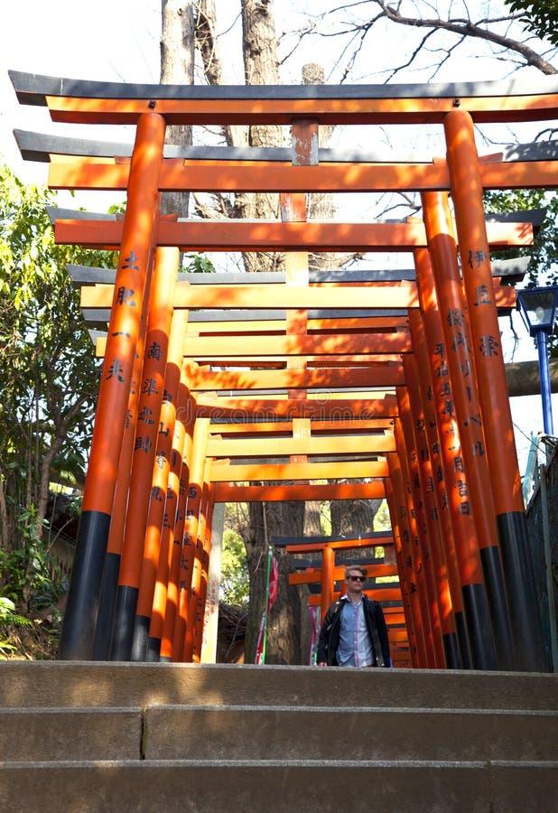 PORTONI DI TORII AL TEMPIO DI UENO, TOKYO immagini stock libere da diritti