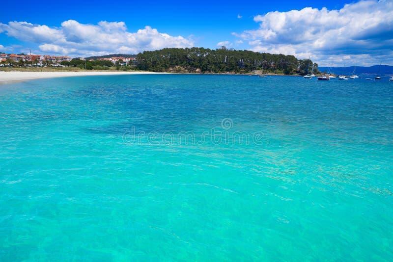 Portonovo Baltar beach in Pontevedra of Galicia. In Sanxenxo also Sanjenjo stock photography