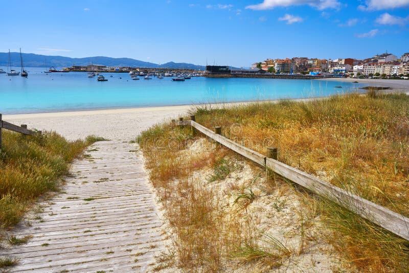 Portonovo Baltar beach in Pontevedra of Galicia. In Sanxenxo also Sanjenjo royalty free stock image