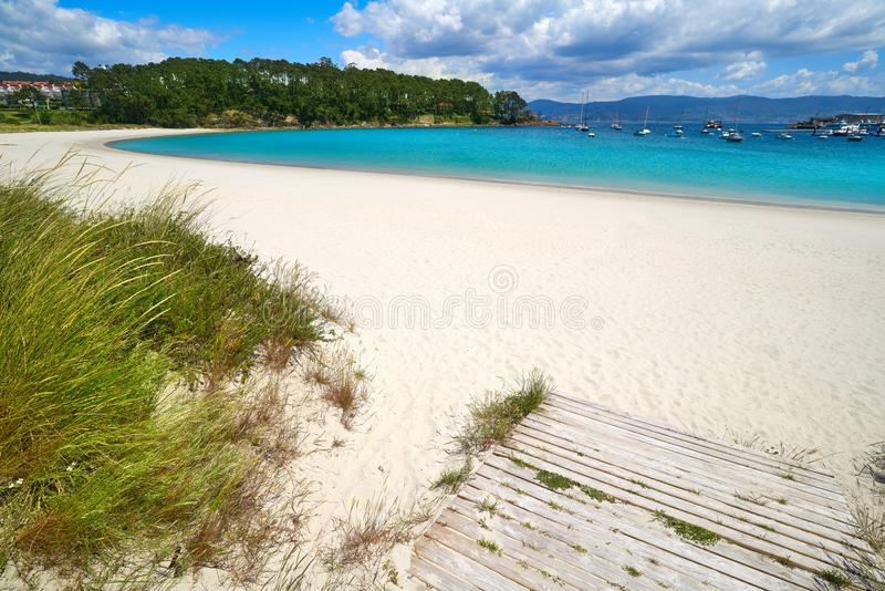 Portonovo Baltar beach in Pontevedra of Galicia. In Sanxenxo also Sanjenjo stock photo