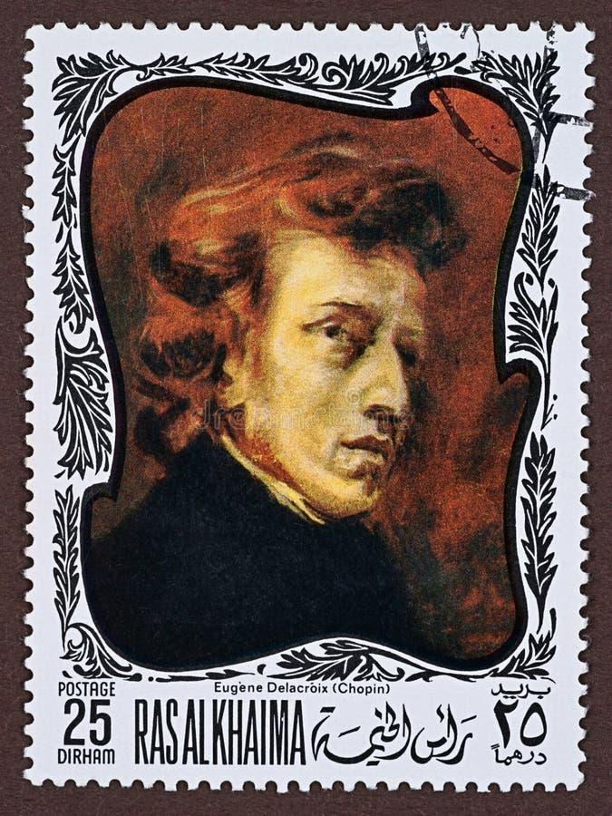 Portostämpel, en målning av Eugène Delacroix som visar en stående av Chopin royaltyfri foto