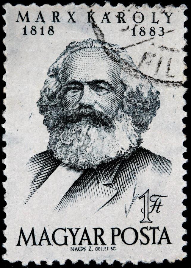 Portostämpel från perioden av den kommunistiska regeln i Ungern, Karl Marx royaltyfria foton