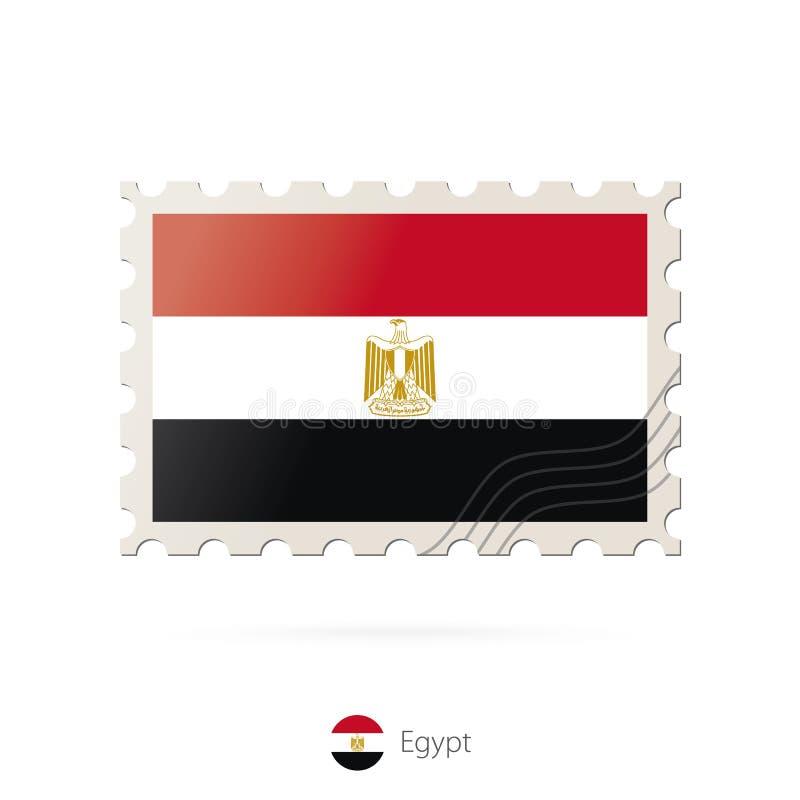 Portostämpel med bilden av den Egypten flaggan vektor illustrationer