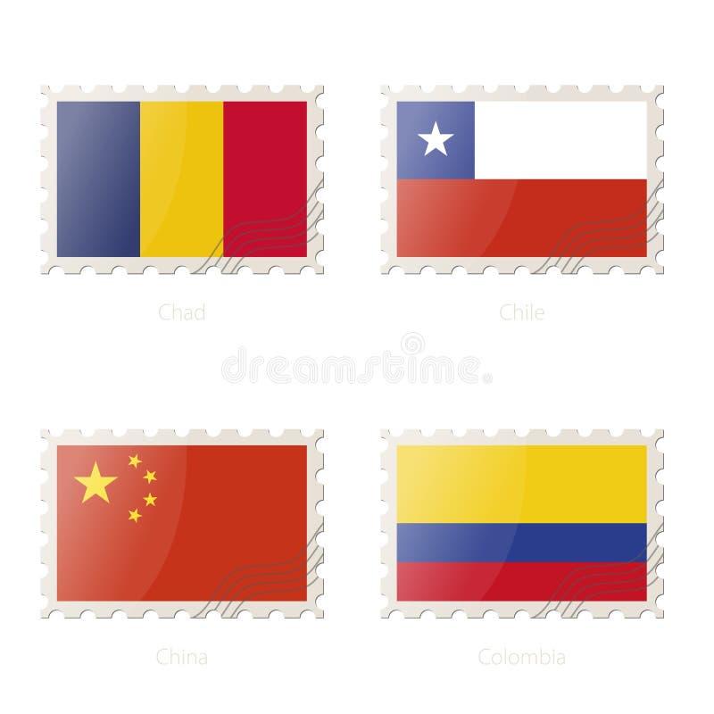 Portostämpel med bilden av Tchad, Chile, Kina, Colombia flagga stock illustrationer