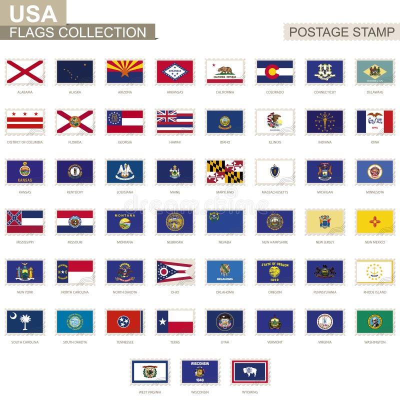 Portostämpel med USA tillståndsflaggor Uppsättning av flaggan för 51 USA-stater stock illustrationer