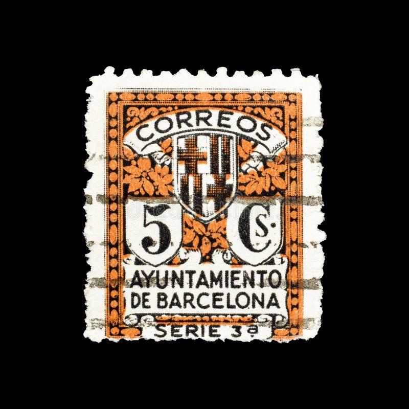 portostämpel som skrivs ut av Spanien arkivfoton