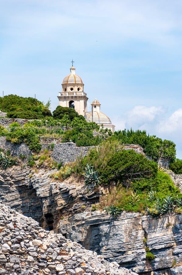 Portovenere, Itali? Mooi kustdorp met de beroemde golf van dichters die de gedichten van Byron inspireerde royalty-vrije stock foto's