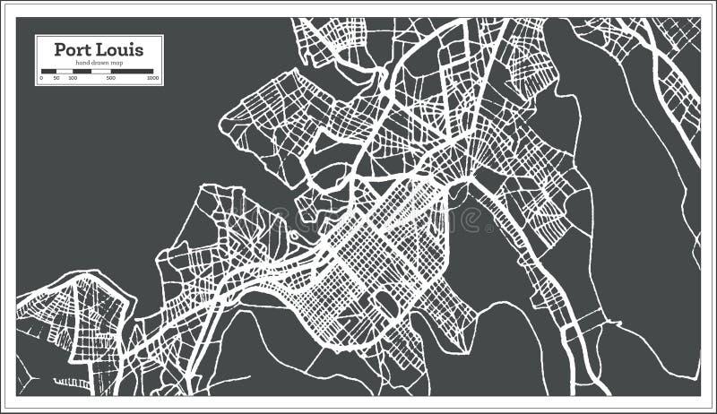Portowa Louis Mauritius miasta mapa w Retro stylu Czarny i biały wektorowa ilustracja ilustracja wektor