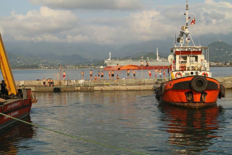 portowy Batumi morze Georgia zdjęcia stock