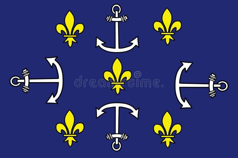 Portowy Louis miasta flaga wektor, Mauritius royalty ilustracja