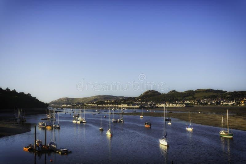 Portowy teren Conwy, Clwyd, Walia zdjęcia stock