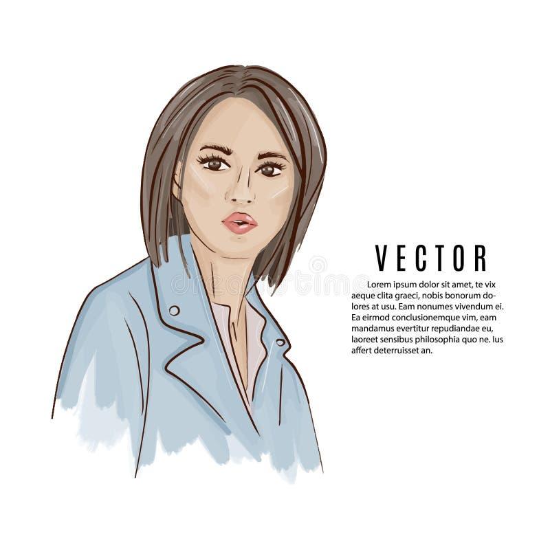 Portpait moderno da mulher bonita no casaco de cabedal e na blusa Ilustração do vetor do pople da aquarela Desenhos animados da c ilustração do vetor