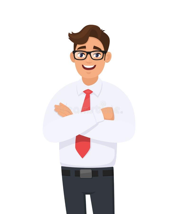 Porträt des hübschen jungen Mannes im weißen Hemd und roten in der Bindung, die Arme gekreuzt, mit Brillen hält Geschäftsmannstel lizenzfreie abbildung