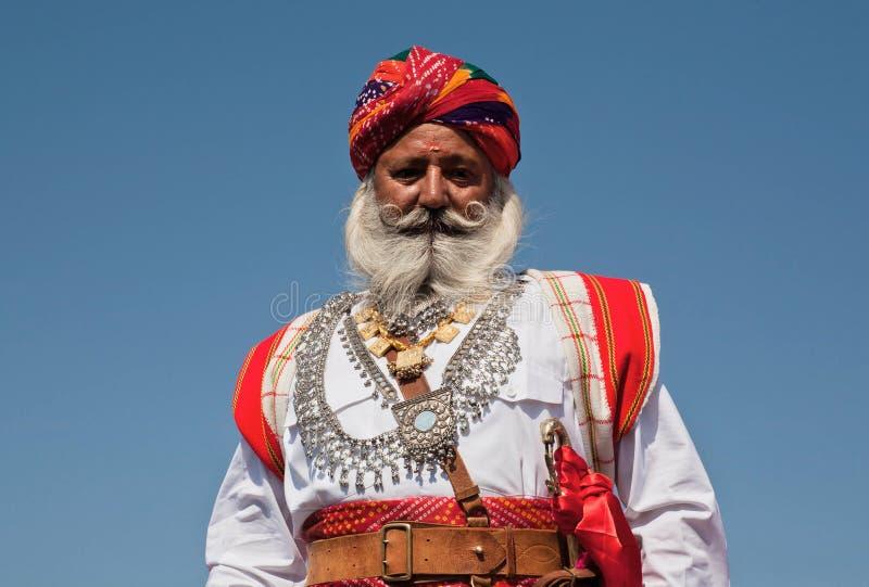 Porträt älteren Rajasthan-Mannes lizenzfreie stockfotografie