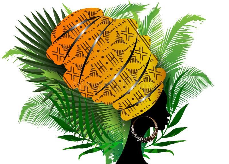 Porträt-Afrikanerin im traditionellen Turban, Kente-Kopfverpackung, dashiki Drucken, schwarzer Afrofrauenvektor-Schattenbild Afro vektor abbildung