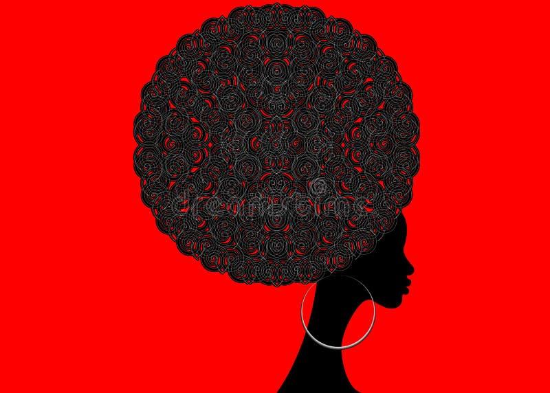 Porträt-Afrikanerinnen, weibliches Gesicht der dunklen Haut mit den Afro- und ethnischen traditionellen Ohrringen des Haares auf  lizenzfreie abbildung
