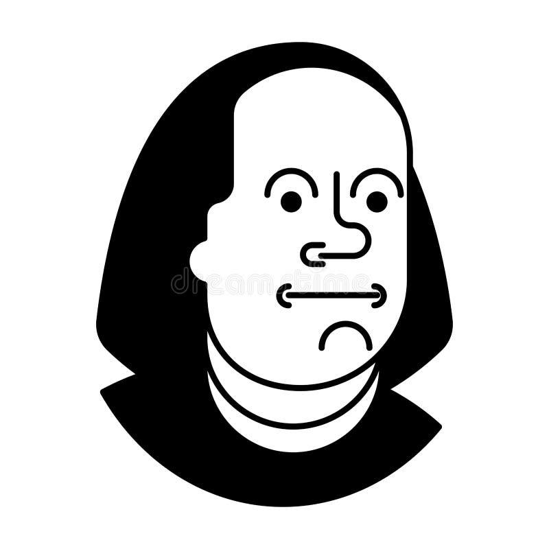 Porträt Benjamin Franklin lokalisiert auf 100 Dollar der Banknote USA lizenzfreie abbildung